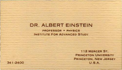 Albert Einstein's business card